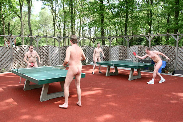 Naturists play table tennis